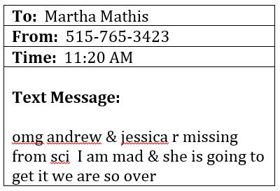 Text Message to Martha Mathis - The lunchroom food fight